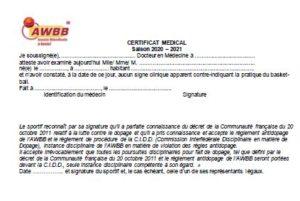 Certificat médical 2020-2021